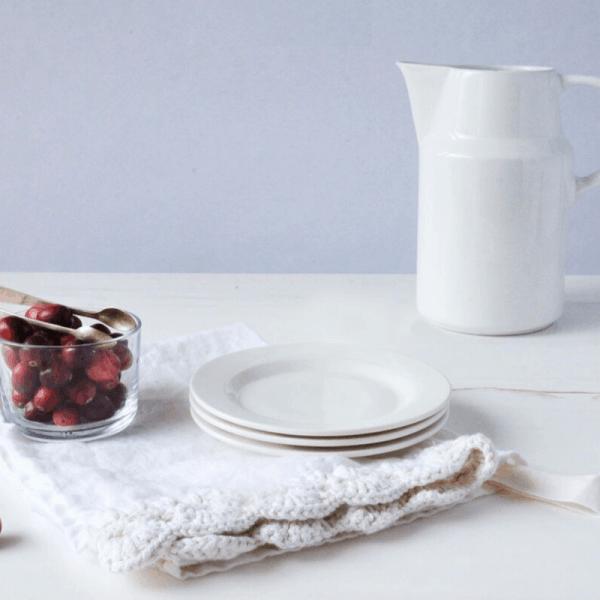 linen tea towel on table