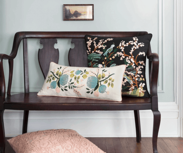 Rifle Paper Co Botanical Embroidered and Kyoto Pillow Lifestyle