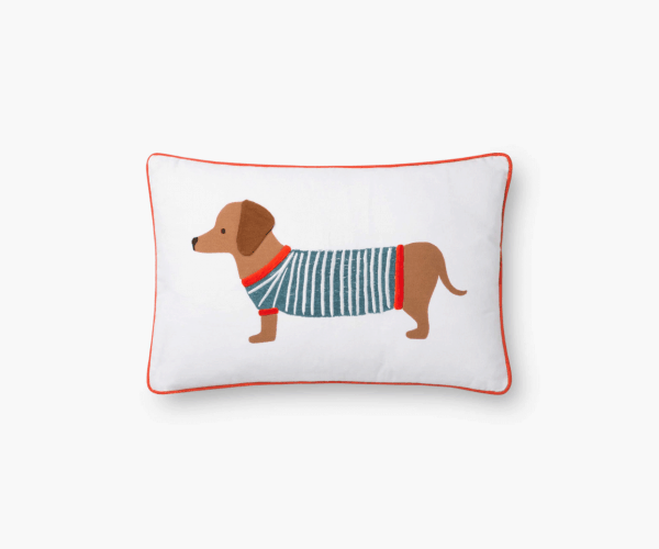 Dachshund Embroidered Pillow