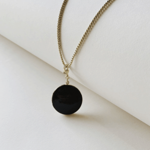 Machete Enamel Locket Necklace in Noir Editorial