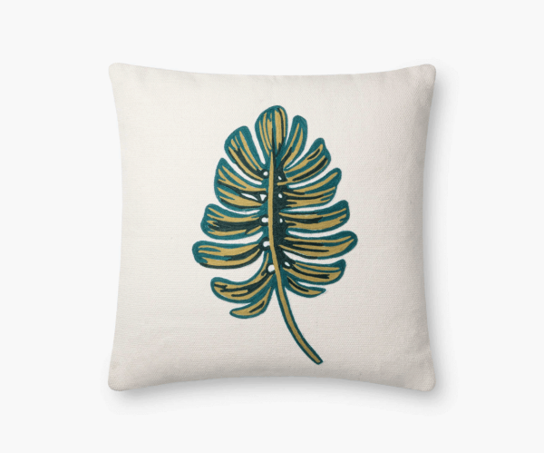Rifle Paper Co Monstera Embroidered Pillow