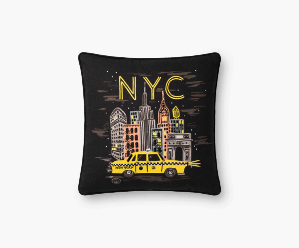 Rifle Paper Co NYC Lights Embroidered Pillow