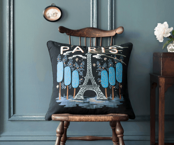 Rifle Paper Co Paris Embroidered Pillow Lifestyle