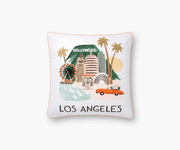 Rifle Paper Co Los Angeles Embroidered Pillow