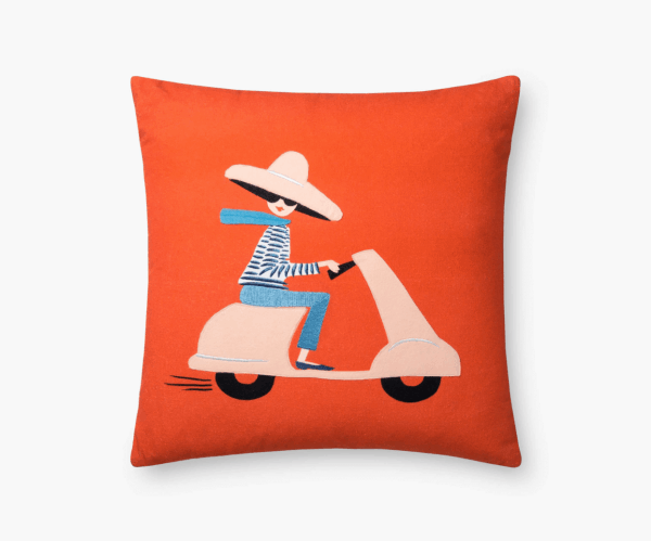 Rifle Paper Co. Scooter Embroidered Pillow