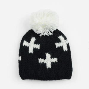 Black and White Swiss Cross Knit Hat
