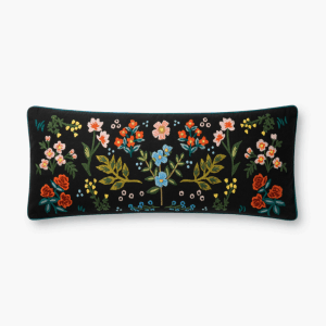 Rifle Paper Co Wildwood Embroidered Pillow Black