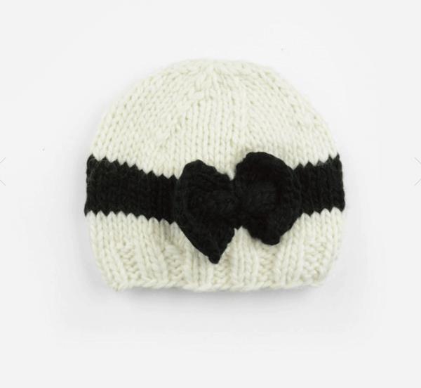 Black Bow Knit Hat