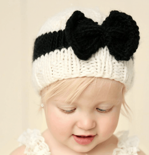Black Knit Bow Hat on Child
