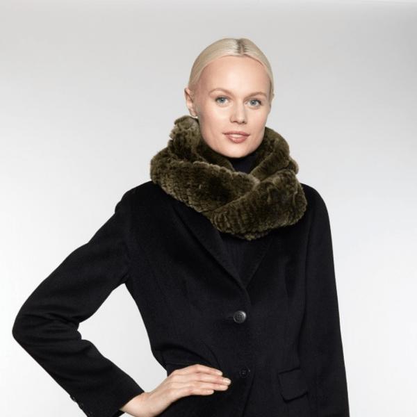 olive rabbit fur cowl scarf RX-14