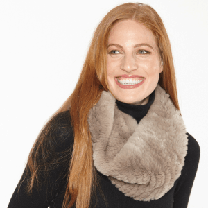 taupe rabbit fur cowl scarf model RX-14