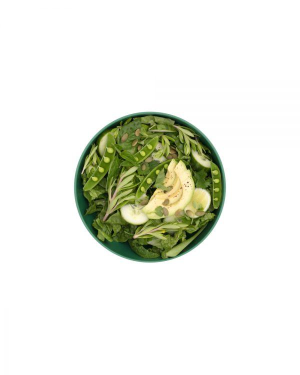 Green Plastic Porter Bowl with Salad
