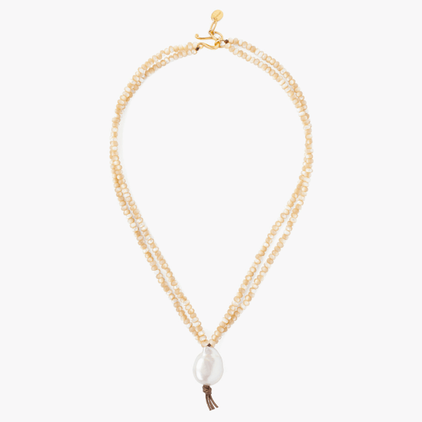 Chan Luu Mother Of Pearl & White Baroque Pearl Pendant Necklace