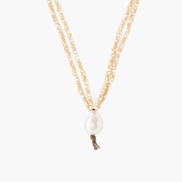 Chan Luu Mother Of Pearl & White Baroque Pearl Pendant Necklace Closeup