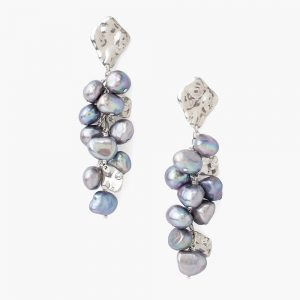 Chan Luu Silver And Grey Pearl Cluster Earrings