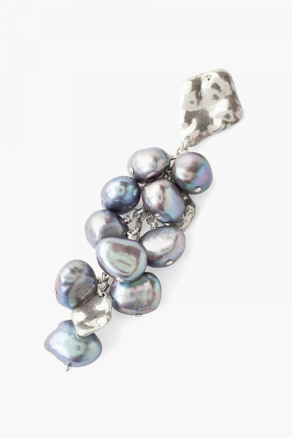 Chan Luu Silver And Grey Pearl Cluster Earring