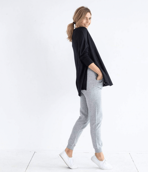 Black Catalina Travel Sweater Slit
