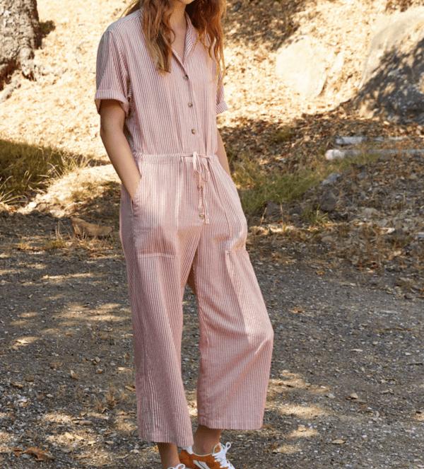 Leann Cotton Blend Stripe Jumpsuit by Velvet