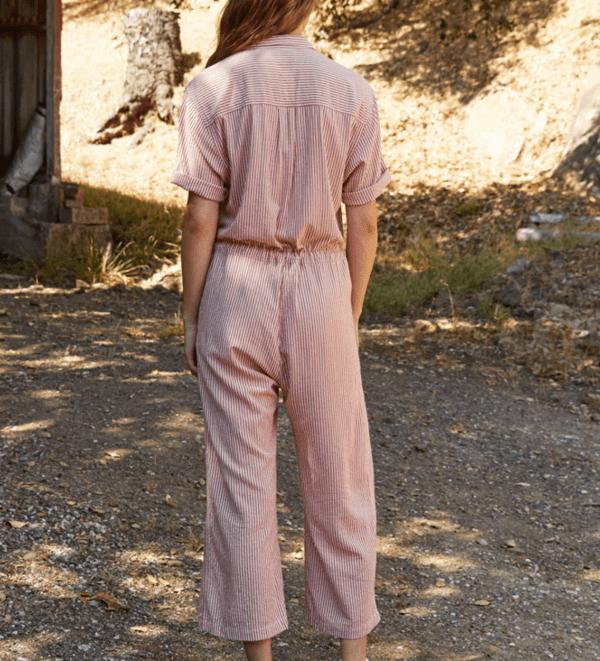 Leann Cotton Blend Stripe Jumpsuit by Velvet Back