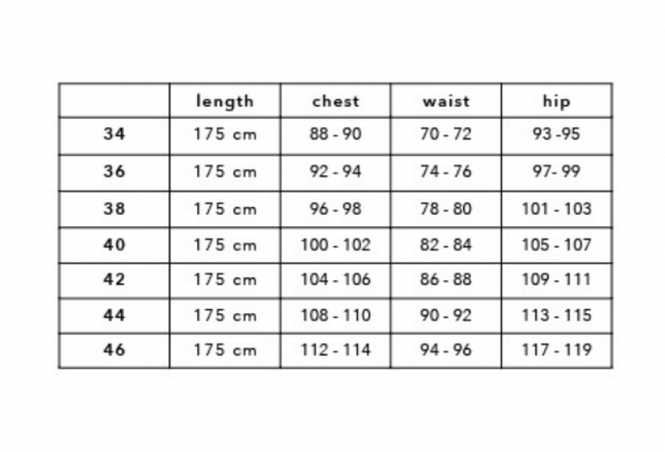 Summum Woman Size Chart
