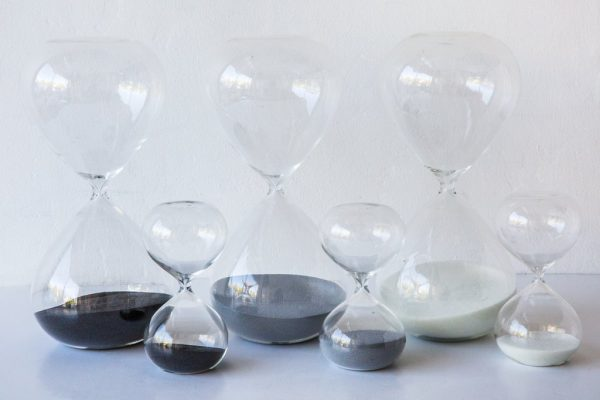 Black, Grey, White Sand Hourglasses