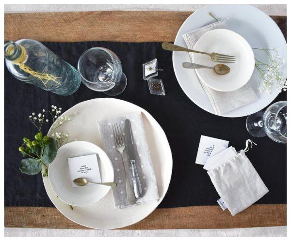 Black Linen Table Runner 1