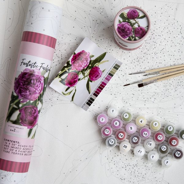 Fantastic Fuschia Paint by Number Kit Contents