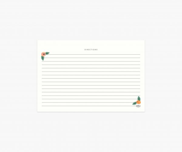 Kitchen Shelf Recipe Cards by Rifle Paper Co Back