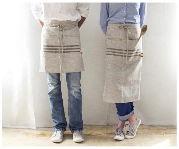 Long Linen Kitchen Apron