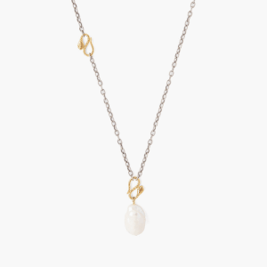 Snake & White Baroque Pearl Pendant Necklace by Chan Luu Detail