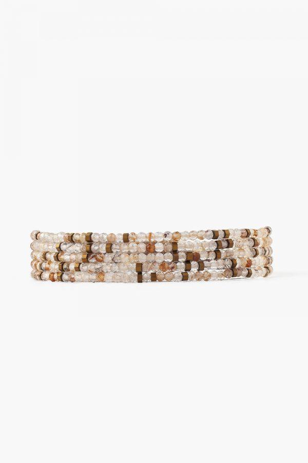 Rutilated Quartz Mix Naked Wrap Bracelet by Chan Luu