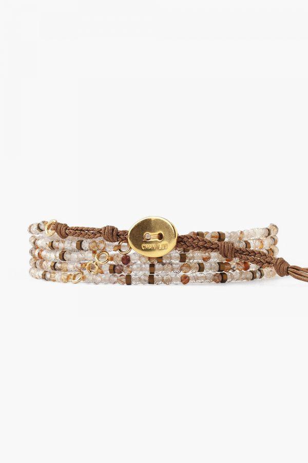 Rutilated Quartz Mix Naked Wrap Bracelet by Chan Luu Back