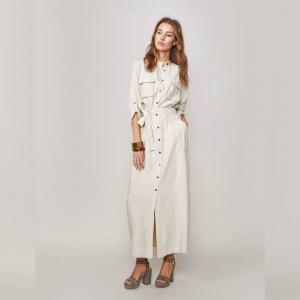 summum woman cream maxi dress