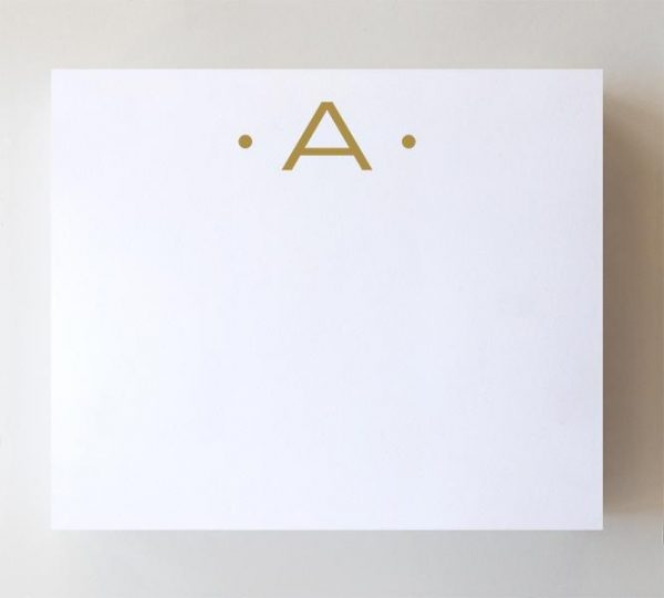 A - Gold Foil Initial Notepad