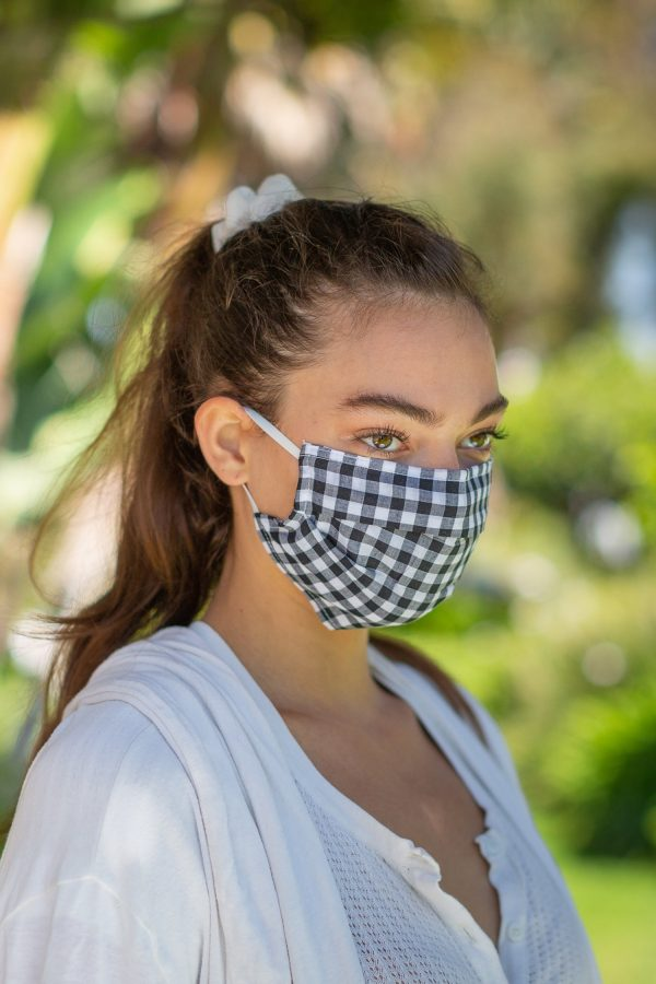 Black Gingham Face Mask on Model