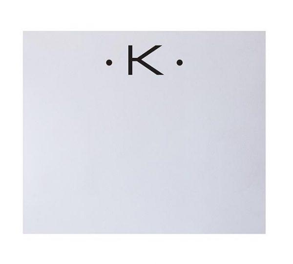 K - Black Initial Notepad