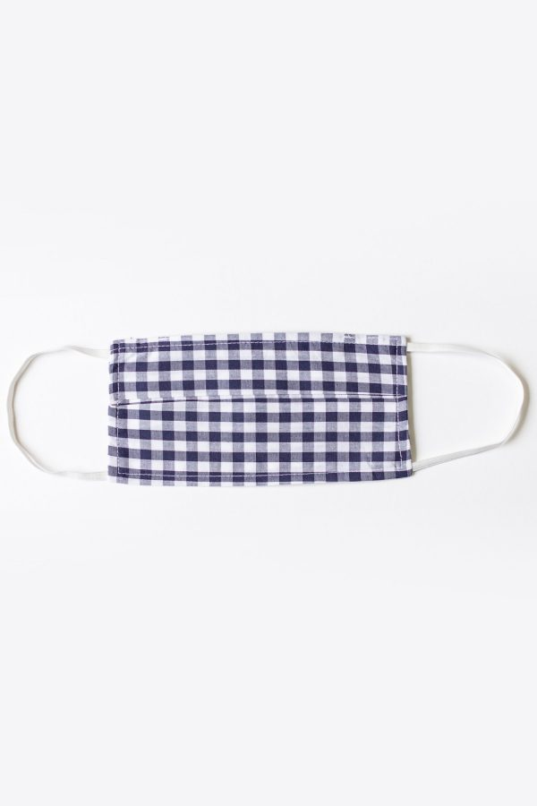 Navy Blue Gingham Face Mask