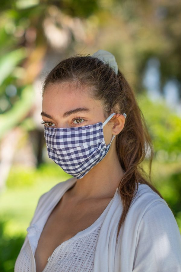 Navy Gingham Face Mask on Model