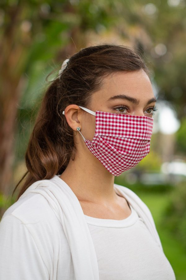 Red Gingham Face Mask on Model