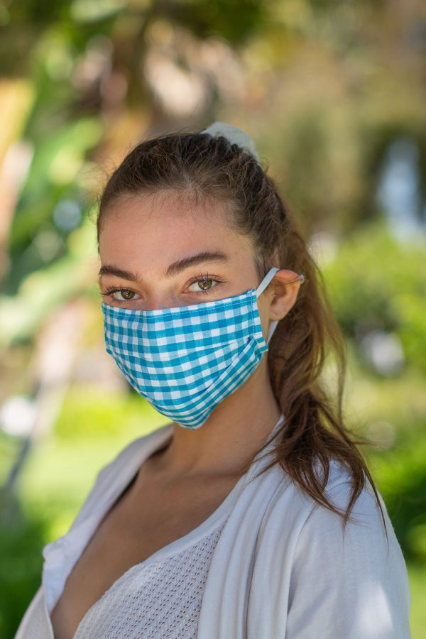 Blue Gingham FaceMask on Model