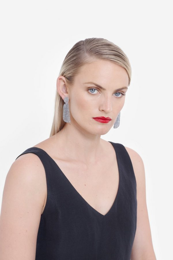 Elk the Label Silver Skara Earrings on Model