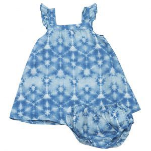Indigo Shibori Sundress & Diaper Cover
