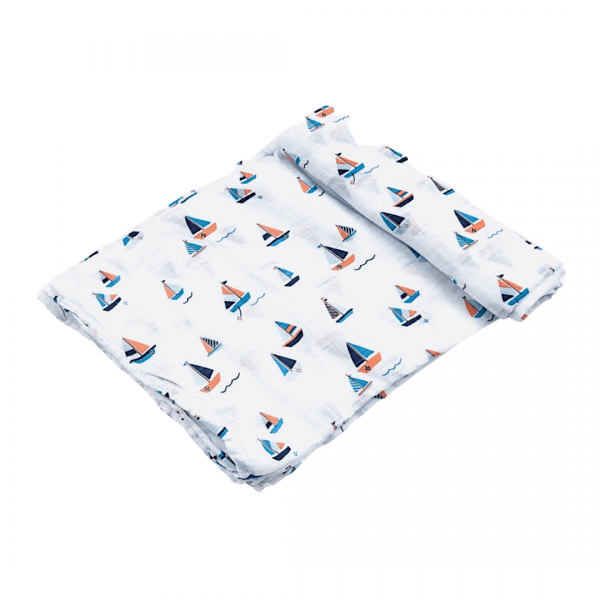 Angel Dear Simple Boats Swaddle Blanket Unrolled