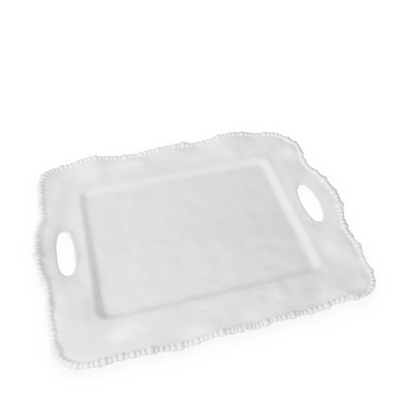 Beatriz Ball Vida White Alegria Rectangular Tray with Handles