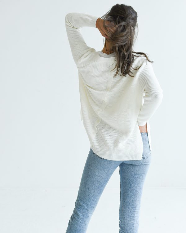 Mersea White Camden Sweater Editorial Back