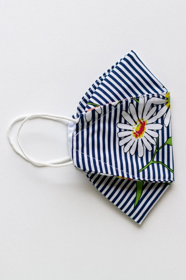 Navy Stripe Floral Expandable Ear-Loops Mask 1