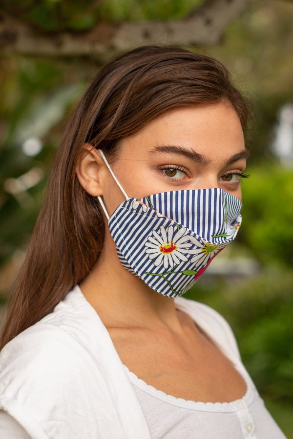 Navy Stripe Floral Expandable Ear-Loops Mask