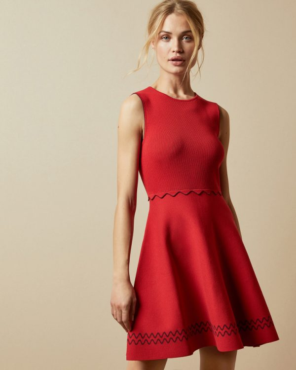 Ted Baker Scallop Knitted Skater Dress Editorial