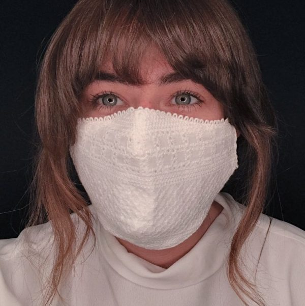 White Cotton Eyelet Face Mask Facing