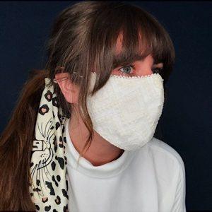 White Cotton & Lace Face Mask